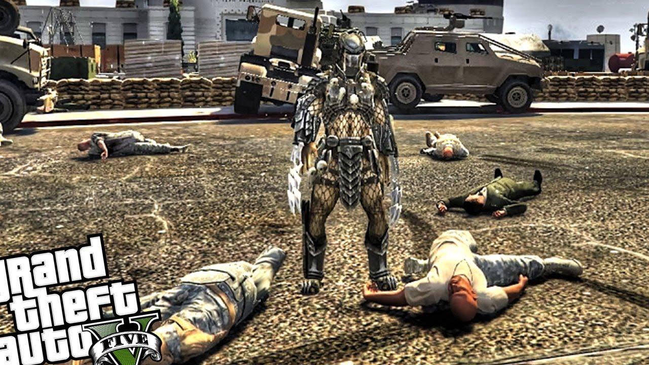Predator Attacks Army Safe Zone! - GTA 5 MOD