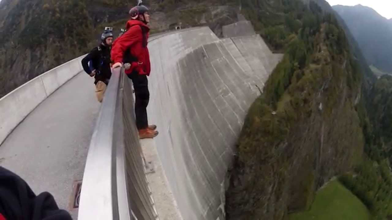 Epic base jump backflip off huge dam!
