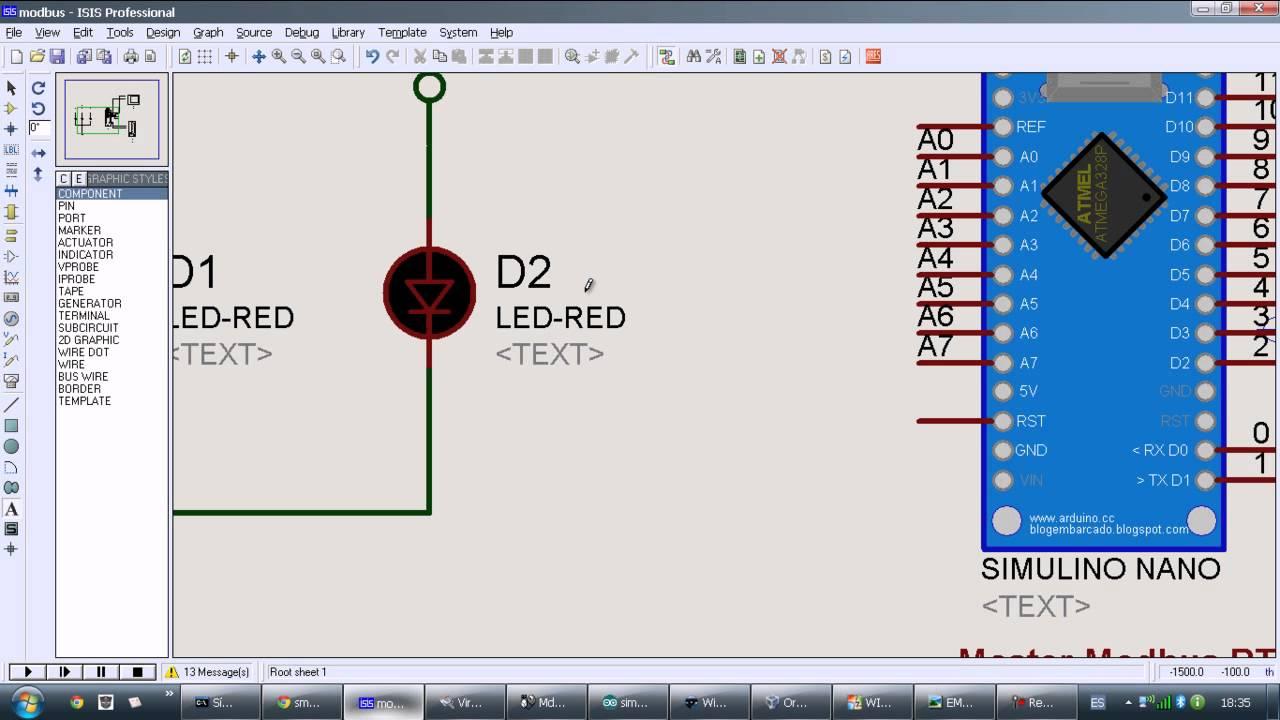 Communications Modbus RTU - Arduino Nano and Modbus simulator in Proteus  @arduino: PDAControl