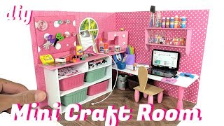 DIY Miniature Dollhouse Craft Room & Supplies - Scissors, Tape, & More