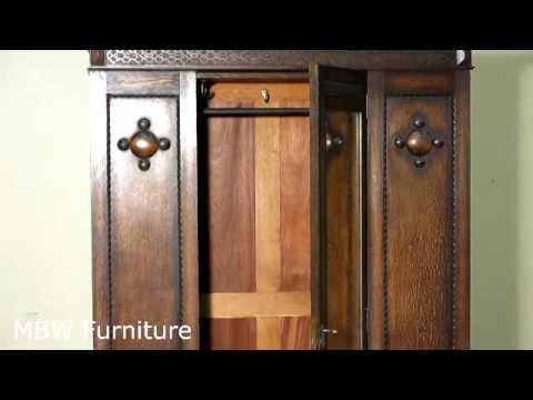 Antique English Quartersawn Oak Armoire Wardrobe C1920