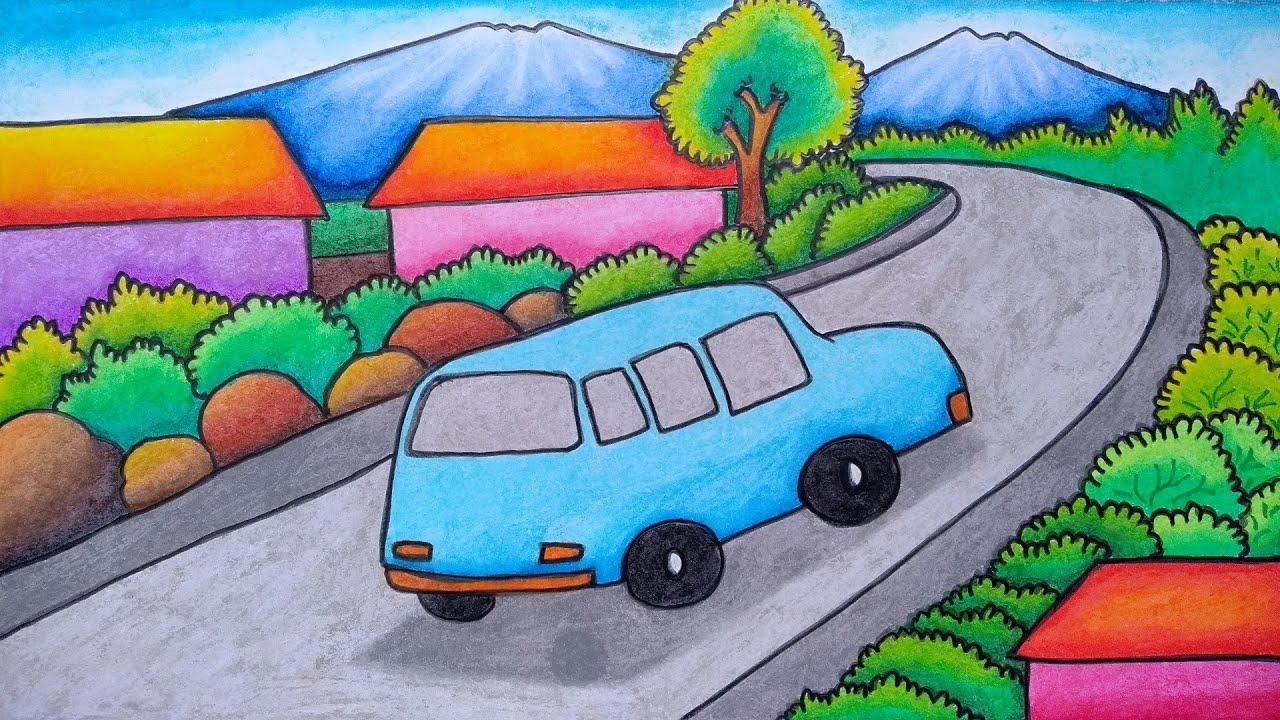 Cara menggambar pemandangan alam pegunungan    Belajar ...