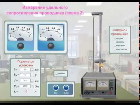 """Виртуальные лабораторные работы по физике """"Определение удельного сопротивления проводника (схема 2)"""""""