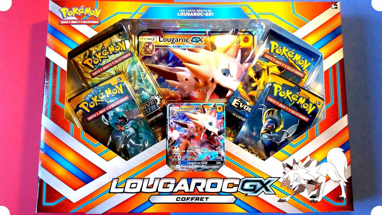 carte pokemon lougaroc gx OUVERTURE COFFRET POKEMON LOUGAROC GX   Soleil & Lune   YouTube