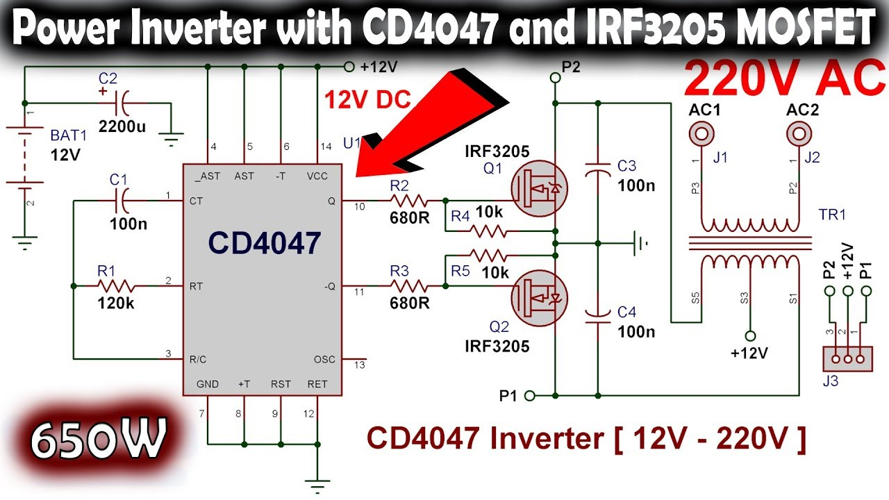 How to make an Inverter with CD4047 12V to 220V AC
