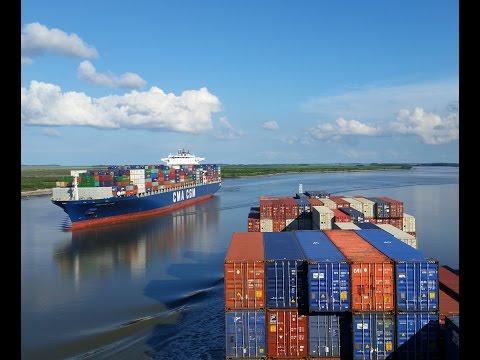 Piloting the container ship Argos down the Savannah River