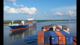 Piloting the container ship Argos down the Savannah River