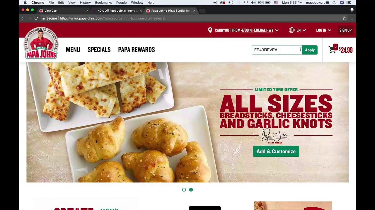 Online Order S Papa John Coupon