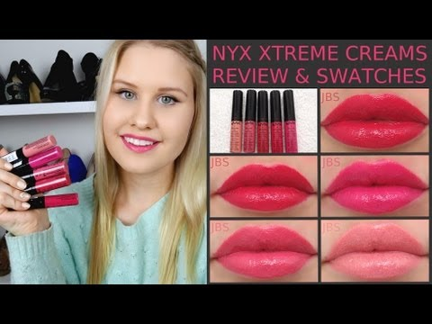 NYX XTREME LIP CREAMS SWATCHES AND REVIEW ♥ - YouTube