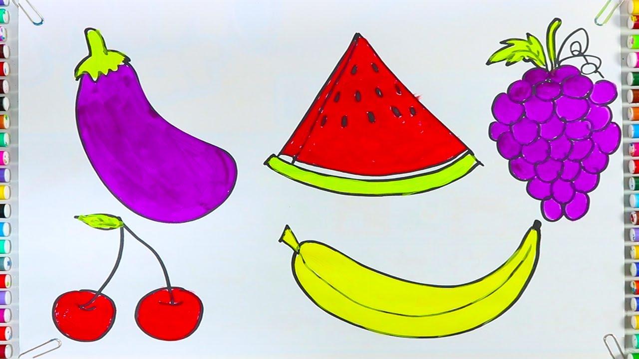 Tô màu hoa quả,Dạy bé tập tô các loại quả chuối, nho, dưa hấu nhiều màu sắc | Bé Học Tô màu trái cây