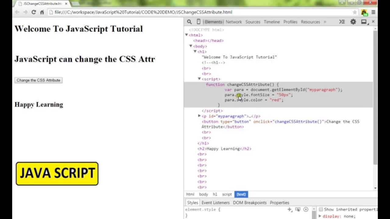TAMIL JAVASCRIPT HOW TO CHANGE CSS ATTRIBUTE DEMO