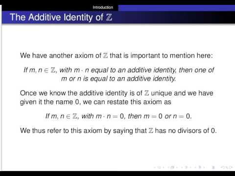 The Additive and Multiplicative Identities of the Integers are Unique