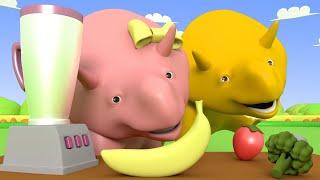 Aprender com o Dino -  Aprenda cores com picolés - Aprender em português 👶 Desenhos Animados