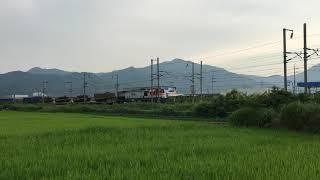 경부선 약목사곡간의 운행중인 건설화물열차
