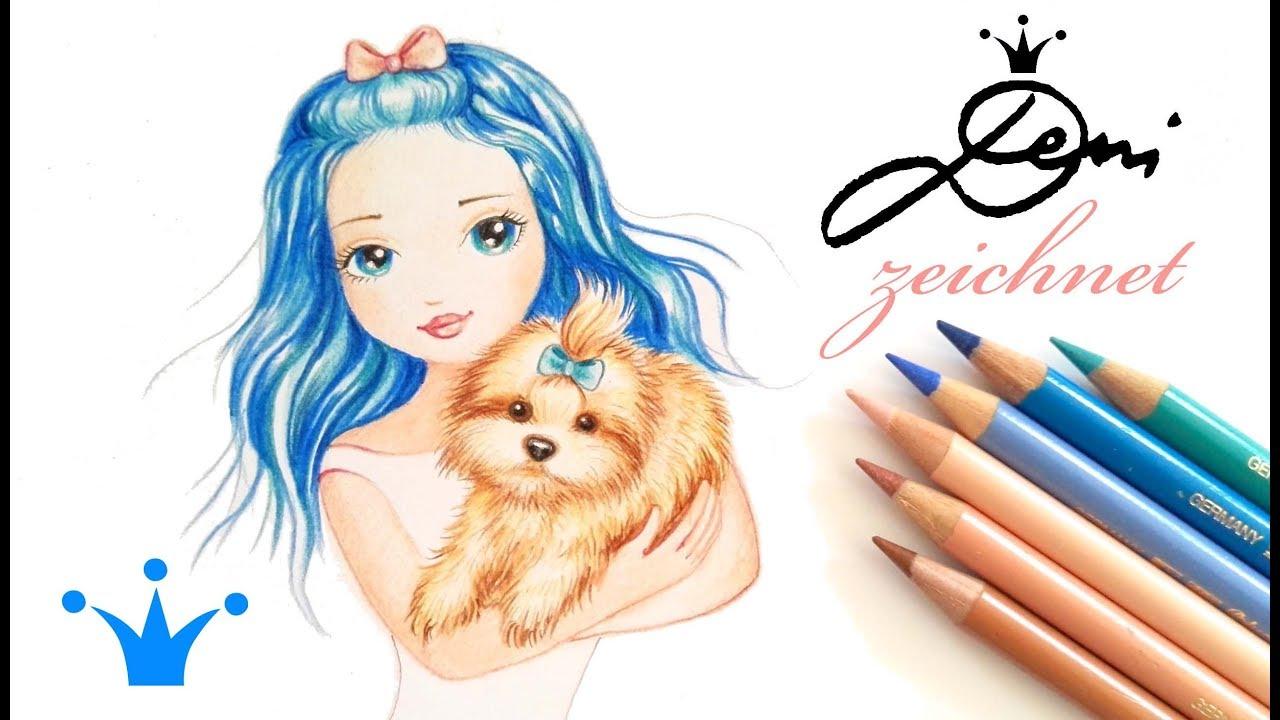 Madchen Mit Blauem Haar Zeichnen Bolonka Hund Malen How To Draw