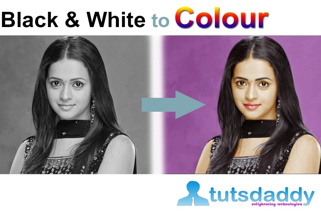 Converting black and white photo to colour photo photoshop tutorial by tutsdaddy com youtube