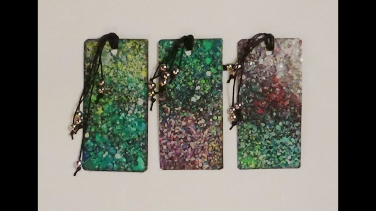 Watercolor bookmarks - Bookmarks Laminated Spattered Watercolour Bookmarks
