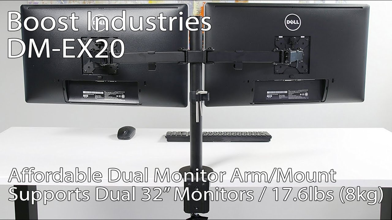 Boost Industries Dm Ex20 Dual Arm Monitor Desk Mount Bracket For Screens 13 To 32 17 6lbs 8kg