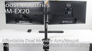 Boost Industries DM-EX20 Dual Arm Monitor Desk Mount/Bracket for Screens 13