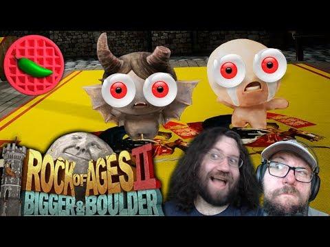 HISTORICAL ROCK HURLING! -- Let's Play Rock of Ages 2: Bigger & Boulder (Local Co-op Multiplayer)