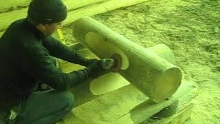 Канадская чаша: шлифовка лысок.(Срубы из Псковской области: канадская чаша. http://domlafet.ru., 2012-04-26T08:49:20.000Z)