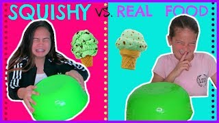 "SQUISHY VS. REAL FOOD CHALLENGE "" SWITH UP "" SISTER FOREVER"