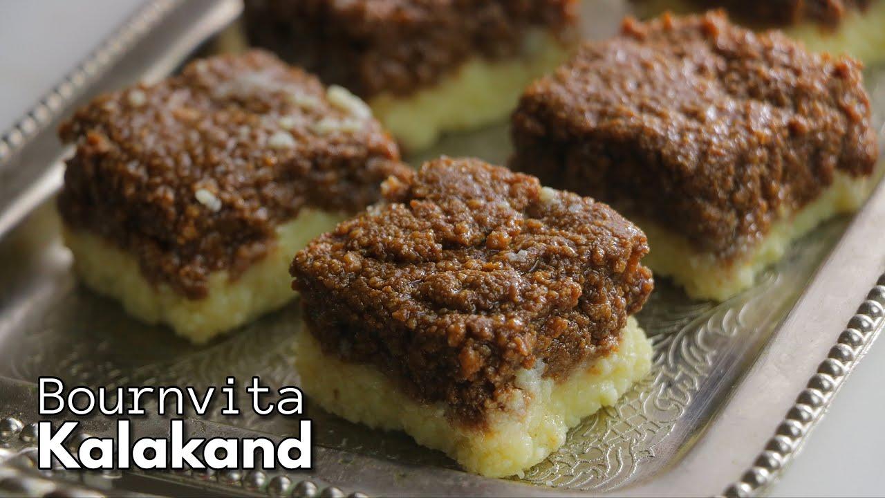 స్వీట్ షాప్ సీక్రెట్స్తో బోర్న్వీటా  కలాకండ్ || Bournvita Kalakand recipe in Telugu || @Vismai Food