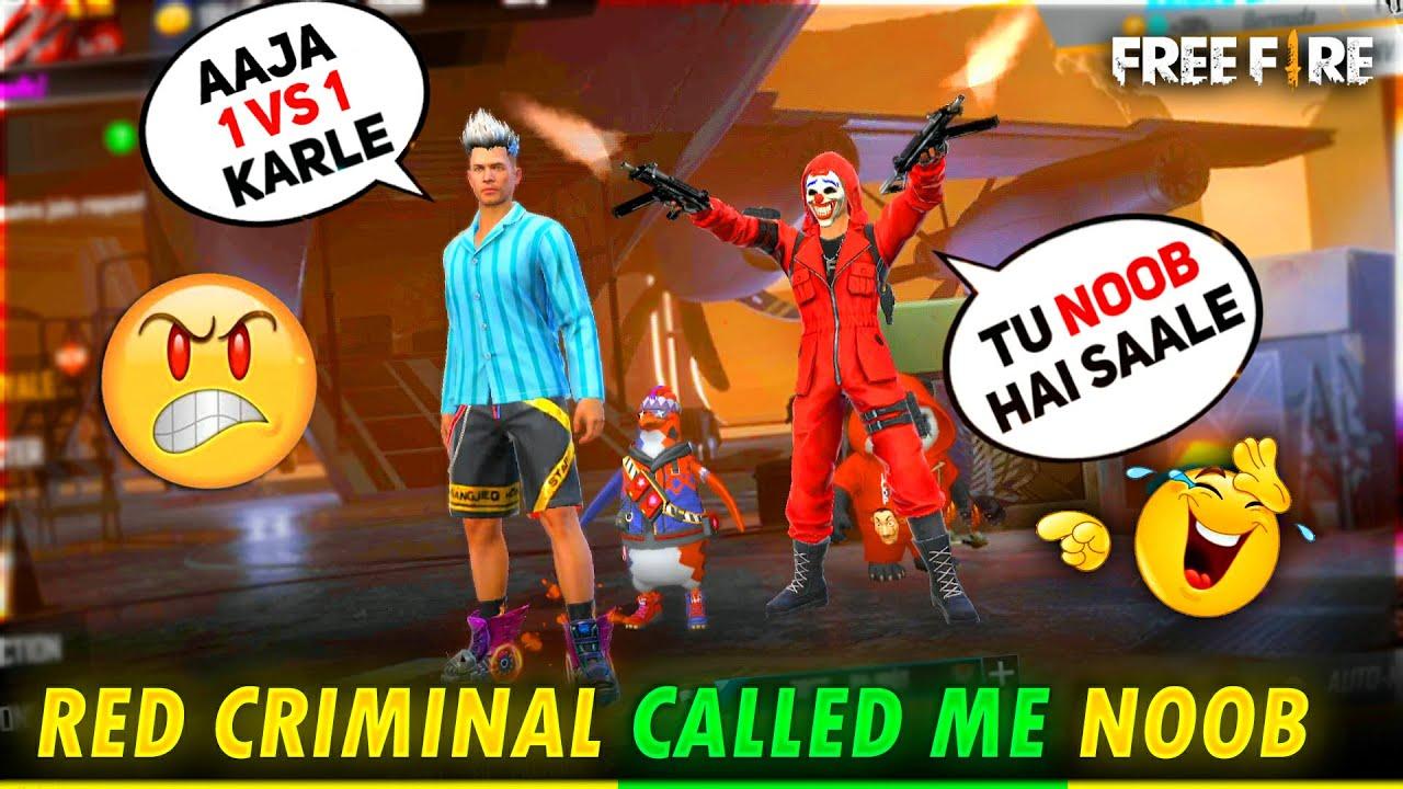 Red Criminal🔥 Call DJ Adam Noob😡 ||आजा 1 vs 1 में !! FireEyes Gaming || Garena Free Fire