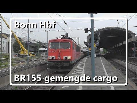 BR155 met gemengde goederentrein komt door station Bonn Hbf!