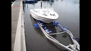 Gambar cover Boat Trailer - Recovering Quick & Easy with Gullwing Multi Glide Roller Bunks From Low Water Slipway