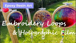 278 - Epoxy Resin Art - Embroidery Loops, Holographic Film \u0026 Bling of Course - Suncatcher Prism