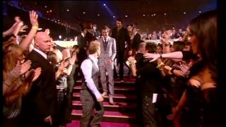 Take That win British Live Act presented by Chris Moyles   BRIT Awards 2008