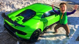 Mr. Joe on Lamborghini Huracan Performance VS Red Man found Car Keys of Cadillac CTS-V for Kids