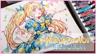 Watercolor Painting Timelapse Manga girl #3