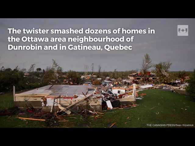 A number of people are in hospital, some of them badly injured after a powerful tornado ripped though the National Capital Region. The twister smashed dozens of homes in the Ottawa area neighbourhood of Dunrobin and in Gatineau, Quebec. The property damage is vast as trees and power lines were torn down over a wide area. Electricity was knocked out for tens of thousands of hydro customers. Hydro Ottawa workers have been working through the night to restore power to thousands of customers left in the dark.