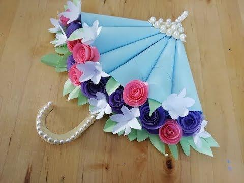 Открытка зонтик с цветами
