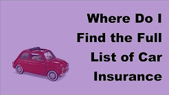 Where Do I Find the Full List of Car Insurance Companies  - 2017 Auto Insurance Tips