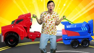 Игры с Трансформерами – Фёдор чинит Оптимус Прайма! – Автоботы в онлайн видео для мальчиков.