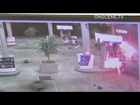 Speeding car bursts into flames after crashing into gas station in Orange