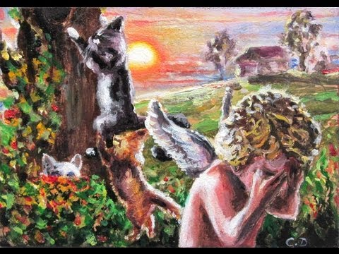 ACEO painting techniques miniature fine art oil painting speed painting angel and kittens