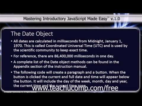 JavaScript Training Tutorial The Date Object