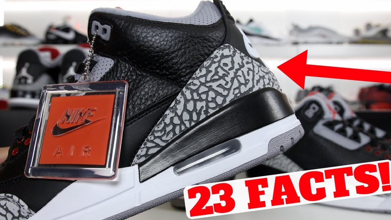 0f51036b3f3d43 23 Facts About The AIR JORDAN 3  BLACK CEMENT ! - YouTube