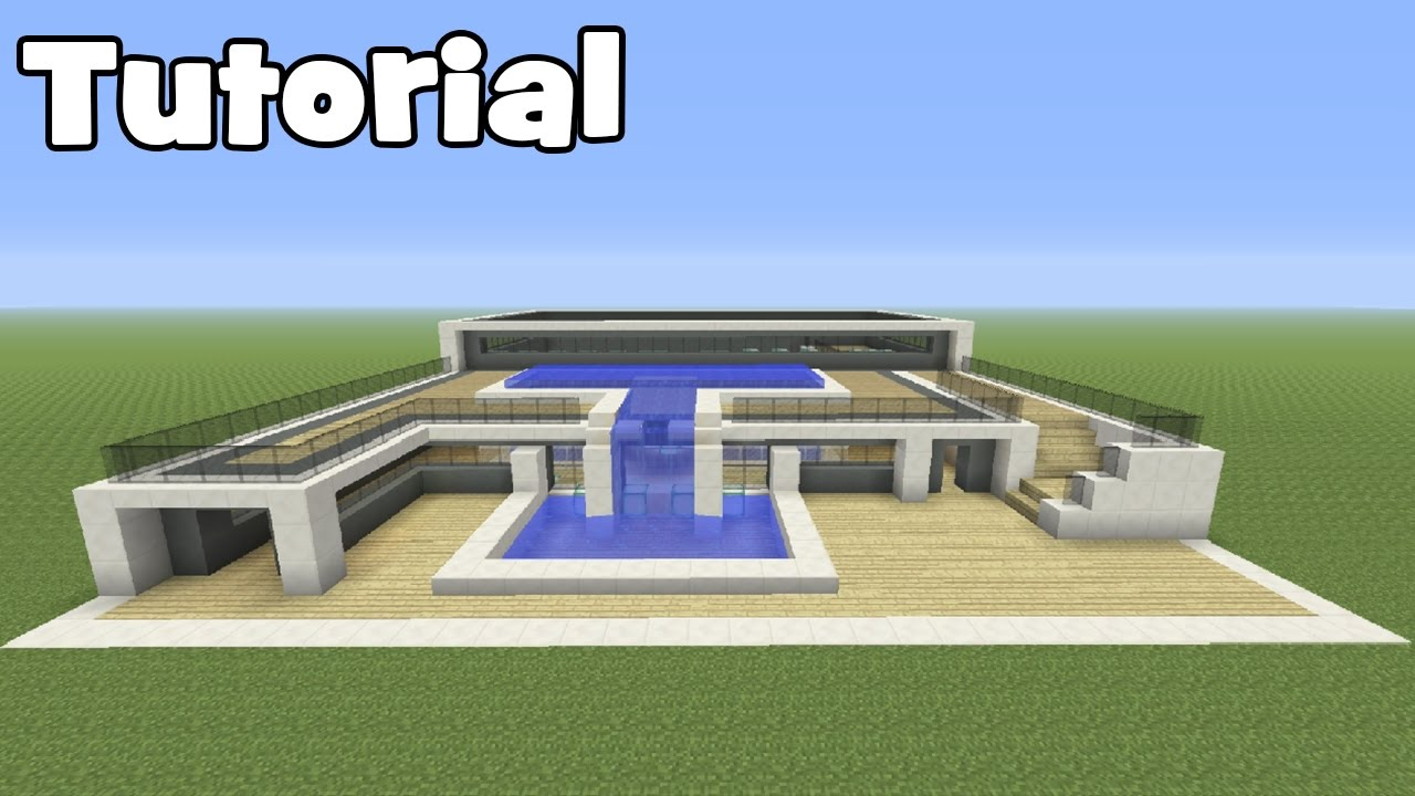 Minecraft tutorial how to make an easy modern mansion for Build big modern house on minecraft