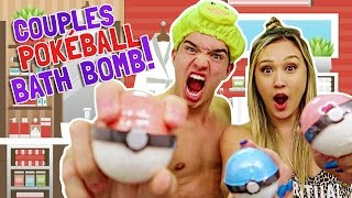 COUPLES POKEBALL BATH BOMB BATH! (WHATS INSIDE?!)