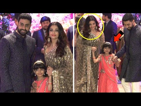 Aishwarya Rai With Daughter Aaradhya & Abhishek Bachchan At Akash Ambani Engagement Party