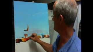 Dipingere riflessi di barche sull