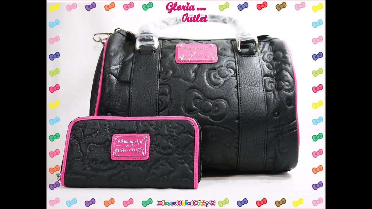 Loungefly Hello Kitty Black Pink Embossed Duffle Bag Santb1186 You