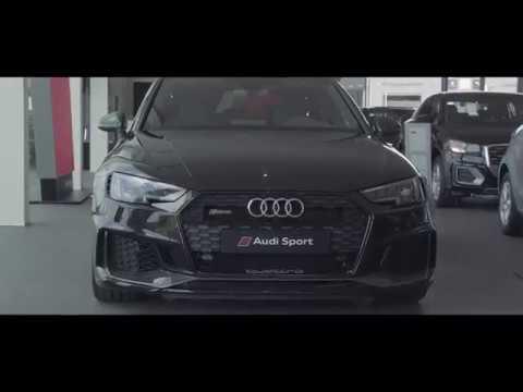 Black AUDI RS4 2018 V6 2.9L TFSI at Audi Sport Brussels
