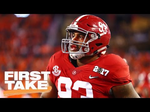 Former Alabama DE Jonathan Allen Joins First Take | First Take | April 18, 2017