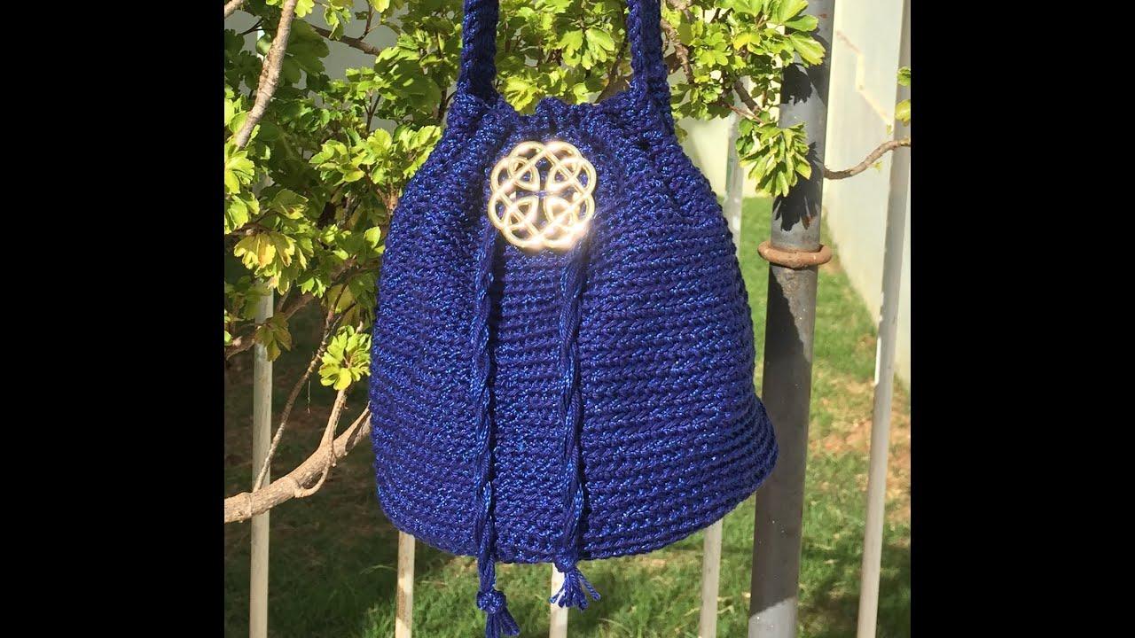 41737f03662e1 DIY Bolsa saco em crochê (crochet bucket bag) - YouTube